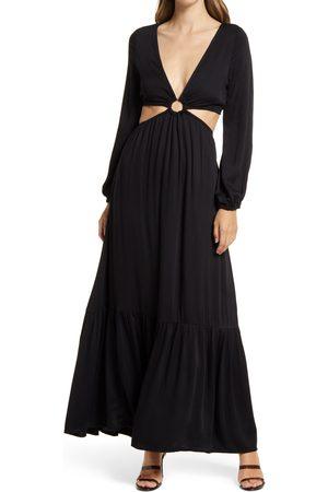 BTFL-life Women's Plunge Neck Cutout Waist Long Sleeve Maxi Dress