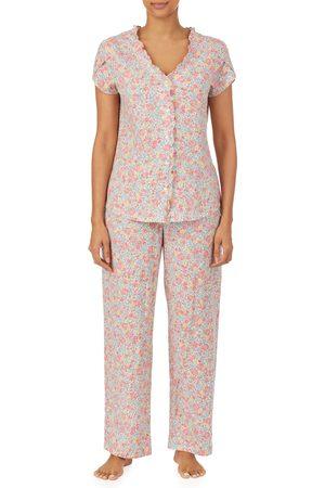LAUREN RALPH LAUREN Women's Ruffle Trim Floral Cotton Pajamas