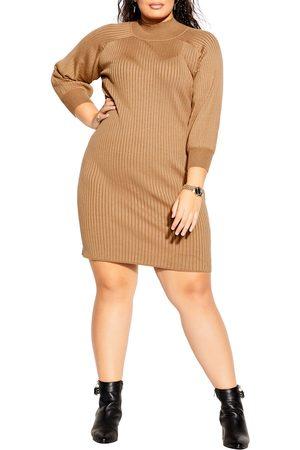 City Chic Plus Size Women's Mock Neck Long Sleeve Rib Sweater Dress