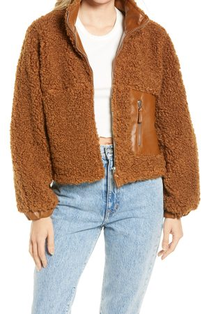 BLANK NYC Women's Faux Shearling With Faux Leather Trim Bomber Jacket