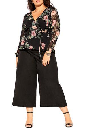 City Chic Plus Size Women's Vineyard Floral Faux Wrap Top