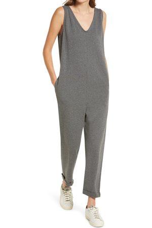 Treasure & Bond Women's Double V-Neck Organic Cotton Blend Jumpsuit