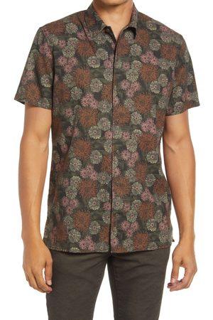 Treasure & Bond Men's Trim Fit Floral Short Sleeve Linen Blend Button-Up Shirt