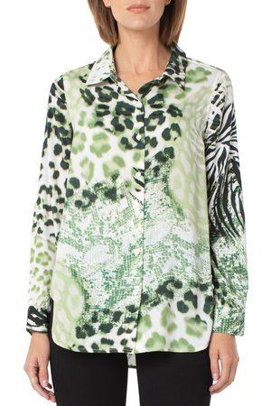 Liverpool Los Angeles Women's Animal Mix Print Button-Up Shirt