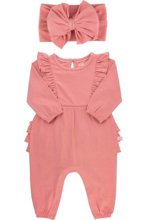 RuffleButts Infant Girl's Dusty Rose Waterfall Jumpsuit And Headband