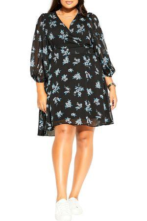 City Chic Plus Size Women's Ditsy Bloom Faux Wrap Dress