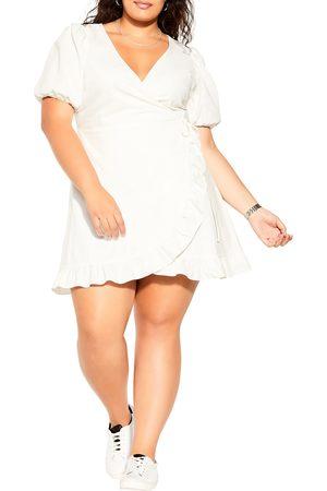 City Chic Plus Size Women's Dreams Ruffle Trim Linen & Cotton Faux Wrap Dress
