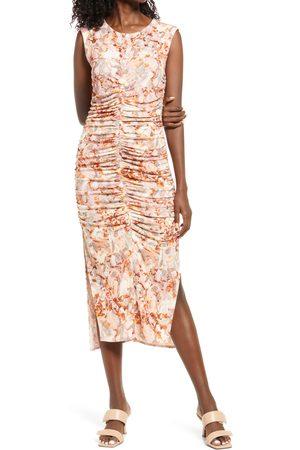 Open Edit Women's Stretch Sleeveless Ruched Midi Dress