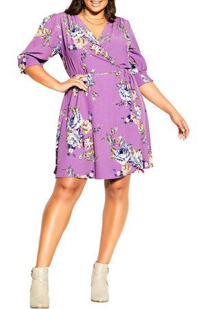 City Chic Plus Size Women's Rose Garden Puff Sleeve Faux Wrap Dress