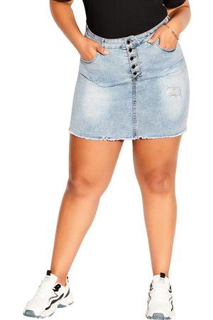 City Chic Plus Size Women's Distressed Denim Miniskirt
