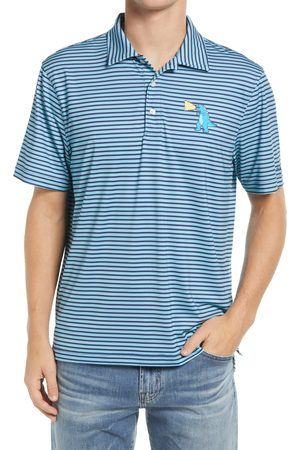 Chubbies Men's The Fired Up Stripe T-Rex Graphic Polo