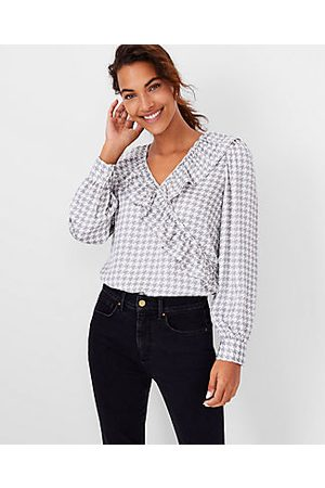 Ann Taylor Women Wrap tops - Houndstooth Ruffle Front Wrap Top