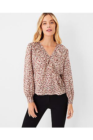 Ann Taylor Floral Ruffle Front Wrap Top