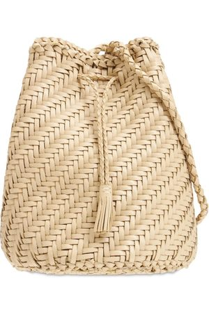 DRAGON DIFFUSION Pompom Doublej Woven Leather Basket Bag