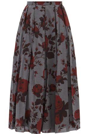 Erdem Sadie Rose-print Cotton-twill Midi Skirt - Womens - Grey