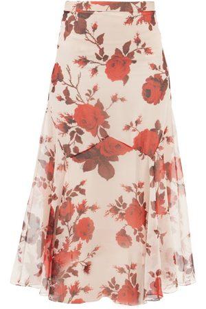Erdem Shea Fonteyn-print Silk-chiffon Midi Skirt - Womens