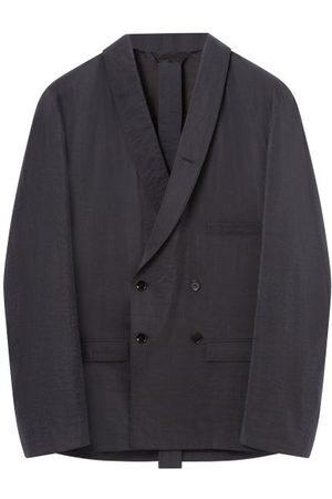 Lemaire Men Blazers - Double-breasted Crepe Suit Jacket - Mens - Dark Grey