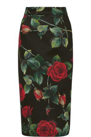 Dolce & Gabbana Women's Rose-Print Neoprene Midi Pencil Skirt - - Moda Operandi