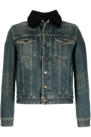 Saint Laurent Men Denim Jackets - Shearling-collar denim jacket