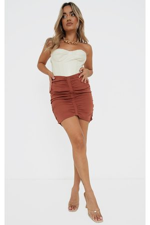PRETTYLITTLETHING Women Party Dresses - Petite Rust Dip Waist Mini Skirt