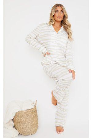 PRETTYLITTLETHING Stone Zebra Oversized Jersey Button Up Long PJ Set