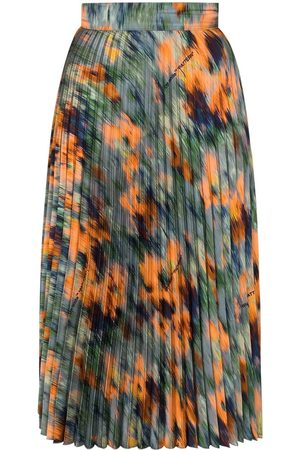 OFF-WHITE Women Printed Skirts - Floral print pleated midi skirt