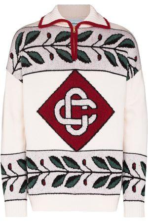 Casablanca Diamond intarsia half-zip jumper