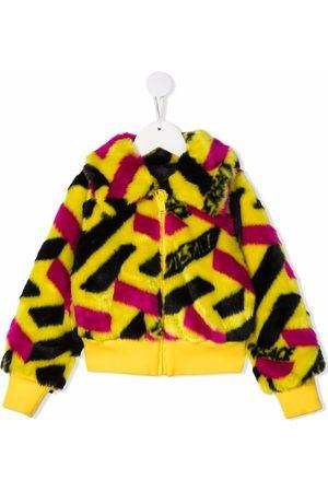 Versace Kids Girls Bomber Jackets - Colour-block faux-fur jacket