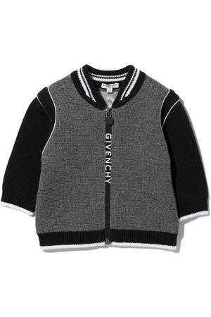 Givenchy Kids Bomber Jackets - Logo-print knitted bomber jacket - Grey