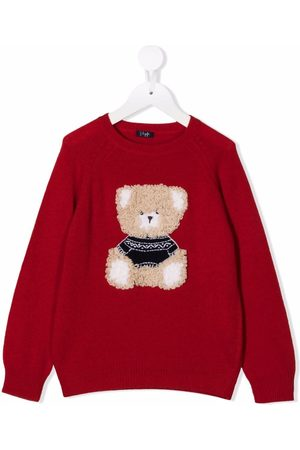 Il gufo Bear-embroidered knitted jumper