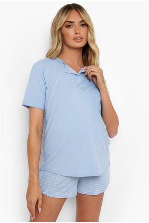 Boohoo Womens Maternity Nursing Rib Stripe Pj Short Set - - 4