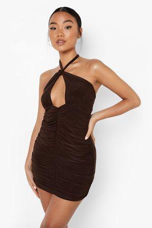 Boohoo Womens Petite Halterneck Ruched Slinky Mini Dress - - 2