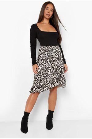 Boohoo Womens Leopa Print Wrap Frill Hem Satin Midi Skirt - - 2