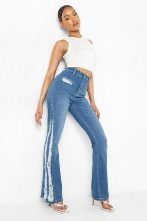 Boohoo Womens High Waist Skinny Laddered Hem Flared Jeans - - 2