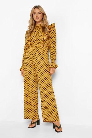 Boohoo Womens Polka Dot High Neck Ruffle Jumpsuit - - 6