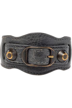 Balenciaga Aged Gold Tone Grey Leather Giant Bracelet