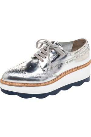 Prada Women Formal Shoes - Metallic Brogue Leather Wave Wingtip Platform Derby Size 37