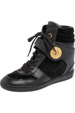 LOUIS VUITTON Epi Leather and Suede Wedge Sneakers Size 37