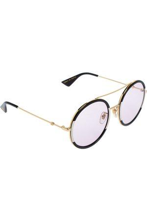 Gucci & White Striped / Pink GG0061S Round Sunglasses