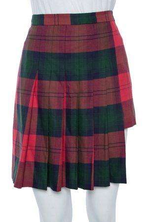 VERSACE Tartan Pleated Asymmetrical Mini Skirt M