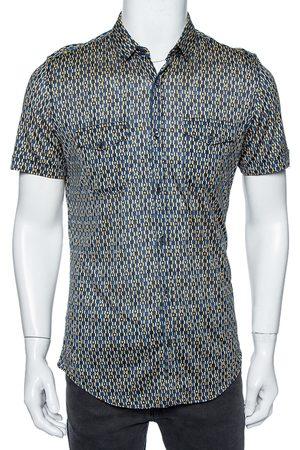 Gucci Multicolored Geometric Print Jersey Short Sleeve Skinny Fit Shirt L