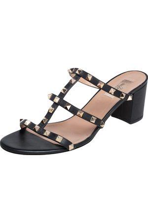 VALENTINO Leather Rockstud Block Heel Slides Sandals Size 41