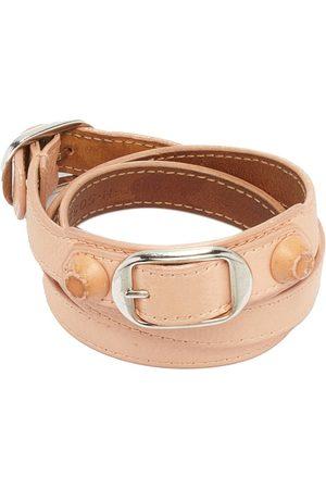 Balenciaga Giant Peach Leather Studded Triple Tour Bracelet M