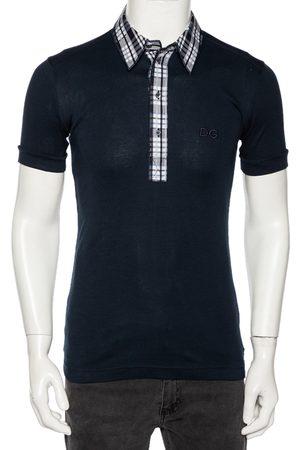 Dolce & Gabbana Navy Cotton Plaid Trim Detail Polo T-Shirt M (IT 48)