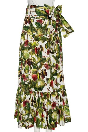 Dolce & Gabbana Fig Print Cotton Pleated Detail A-Line Skirt M