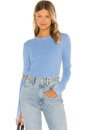 Michael Lauren Solomon Long Sleeve Fitted Tee with Elbow Slits in .