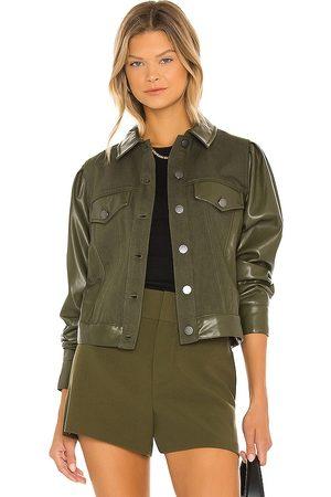 ALICE+OLIVIA Renee Vegan Leather Jacket in Olive.