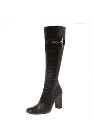 Gucci Women Thigh High Boots - Dark Leather Horsebit Knee Length Boots Size 37.5