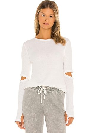Michael Lauren Solomon Long Sleeve Fitted Tee with Elbow Slits in Ivory.