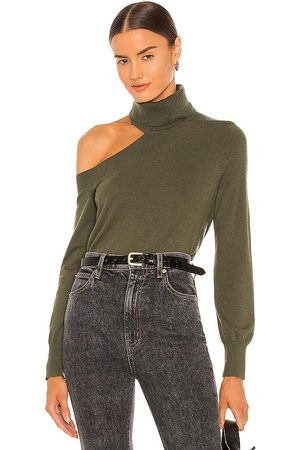 L'Agence Easton One Shoulder Sweater in Army.